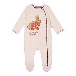 Baker by Ted Baker - Babies light pink floral bunny sleepsuit
