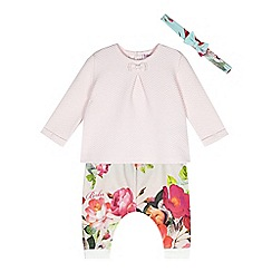 Baker by Ted Baker - Babies pink quilted top, hareem pants and headband set