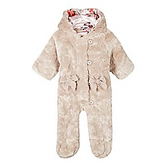 Baker by Ted Baker - Babies pale pink faux fur ear hooded snowsuit
