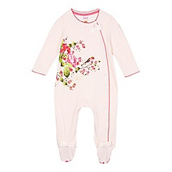 Baker by Ted Baker - Babies pink flower and bird print sleepsuit
