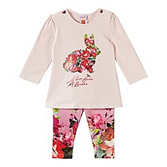 Baker by Ted Baker - Babies pink bunny graphic top and leggings set
