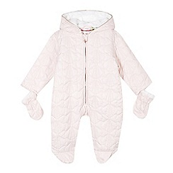 Baker by Ted Baker - Babies pink quilted bow snowsuit