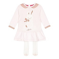 Baker by Ted Baker - Babies pink bunny peplum dress and leggings set