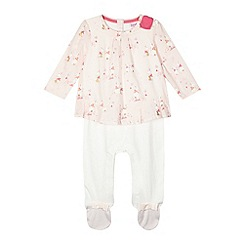Baker by Ted Baker - Babies pink bunny mockable sleepsuit