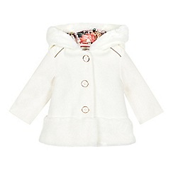 Baker by Ted Baker - Baby girls' off white faux fur edge dress coat
