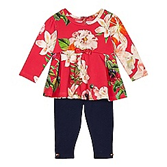 Baker by Ted Baker - Baby girls' pink floral tunic and navy leggings set