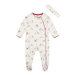 Baker by Ted Baker - Baby girls' cream seal print sleepsuit and headband set