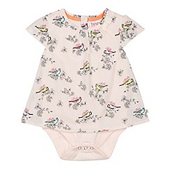 Baker by Ted Baker - Babies light pink bird mockable bodysuit