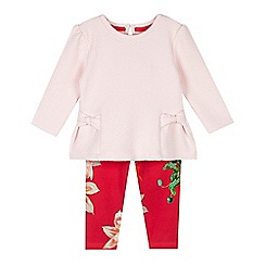 Baker by Ted Baker - Girls' pink textured top and floral leggings set
