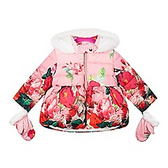 Baker by Ted Baker - Girl's pink floral faux fur coat and mittens