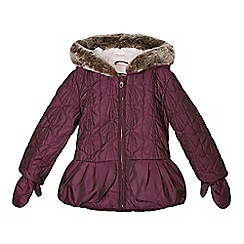 Baker by Ted Baker - Girl's purple bow quilted jacket with mittens