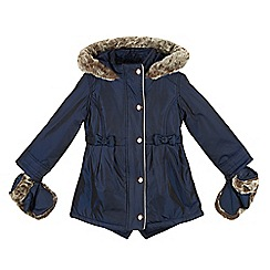Baker by Ted Baker - Girl's navy faux fur hooded coat with mittens