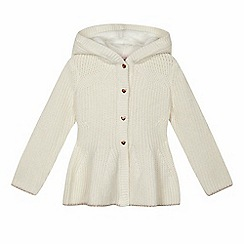 Baker by Ted Baker - Girls' cream chunky knit hooded jumper