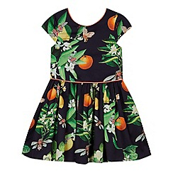 Baker by Ted Baker - Girl's navy mock 2-in-1 blossom prom dress