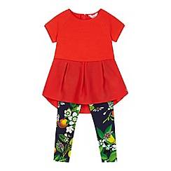 Baker by Ted Baker - Girl's red tunic and fruit print leggings set