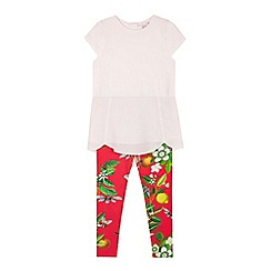 Baker by Ted Baker - Girl's light pink pleated sleeve tunic and leggings set