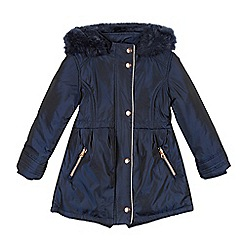 Baker by Ted Baker - Girl's navy faux fur lined padded parka