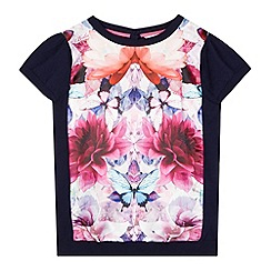Baker by Ted Baker - Girl's navy floral knitted top