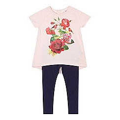 Baker by Ted Baker - Girl's pink rose print top and navy leggings set