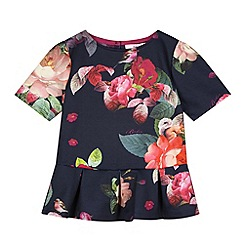 Baker by Ted Baker - Girl's navy floral peplum top