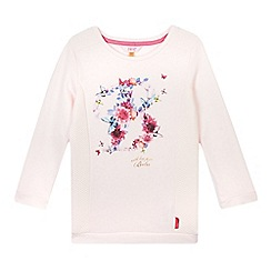 Baker by Ted Baker - Girl's pink floral logo jacquard panel sweat top