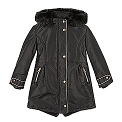 Baker by Ted Baker - Girl's black textured faux fur hooded parka coat