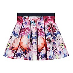 Baker by Ted Baker - Girl's pink floral butterfly print pleated skirt