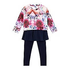 Baker by Ted Baker - Girl's pink quilted floral top and leggings set