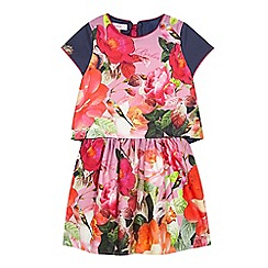 Baker by Ted Baker - Girl's pink floral top and skirt set