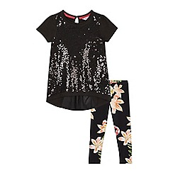 Baker by Ted Baker - Girls' black sequined top and leggings set