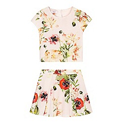 Baker by Ted Baker - Girls' pink floral top and skirt set