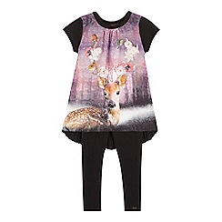 Baker by Ted Baker - Girls' black deer print top and quilted leggings set