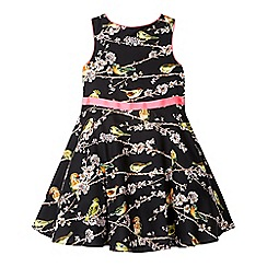 Baker by Ted Baker - Girl's black bird and branch print prom dress