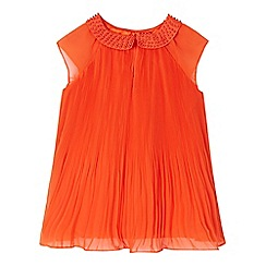 Baker by Ted Baker - Girls' orange pleated pater pan collar top