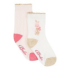 Baker by Ted Baker - Pack of two babies pink and white bunny socks