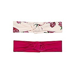 Baker by Ted Baker - Pack of two babies dark pink and light pink tulip printed headbands