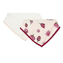 Baker by Ted Baker - Pack of two babies light pink quilted and tulip printed dribble bibs