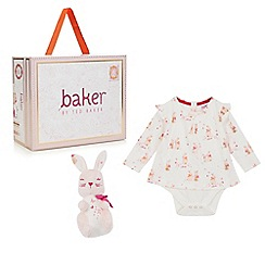 Baker by Ted Baker - Baby girls' cream layered bunny bodysuit and soft bunny toy set in a gift box