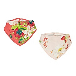 Baker by Ted Baker - Pack of two baby girls' pink  bloom dribble bibs