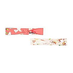 Baker by Ted Baker - Pack of two pink and coral floral hairbands