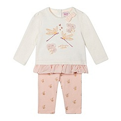 Baker by Ted Baker - Baby girls' light pink dragonfly top and leggings set