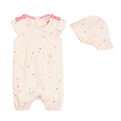 Baker by Ted Baker - Baby girls' pink bunny print romper and hat