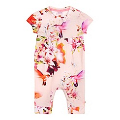 Baker by Ted Baker - Baby girls' pink floral bird print romper suit and headband set