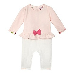 Baker by Ted Baker - Baby girls' light pink quilted mockable sleepsuit