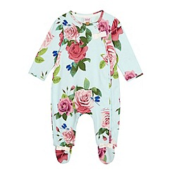 Baker by Ted Baker - Baby girls' light green rose print sleepsuit
