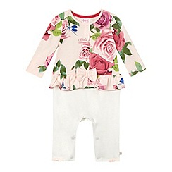 Baker by Ted Baker - Baby girls' light pink rose mockable romper suit