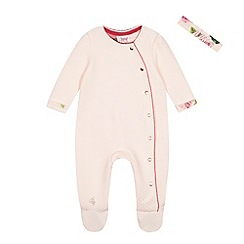 Baker by Ted Baker - Baby girls' pink quilted sleepsuit and headband