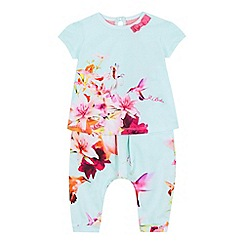 Baker by Ted Baker - Baby girls' light green hummingbird print top and harem pants set