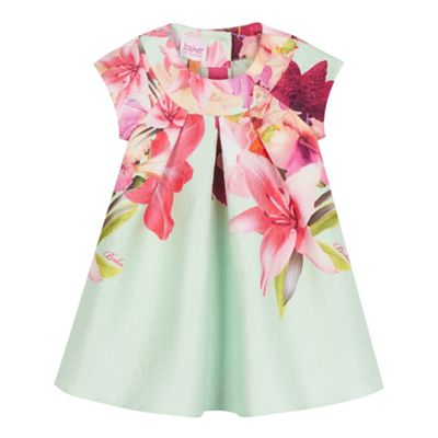 Baker by Ted Baker Light green bird jacquard dress