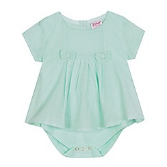 Baker by Ted Baker - Baby girls' light green pleated dobby bodysuit